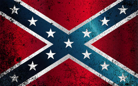 The flag of the confederates during the American Civil War with grunge FX