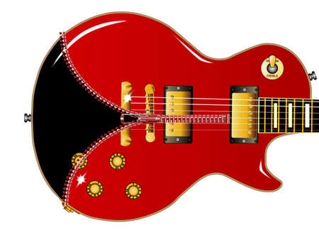 gibson: The definitive rock and roll guitar with a red body being unziped to show a black guitar within