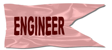 A silk flag with the legend ENGINEER Illustration