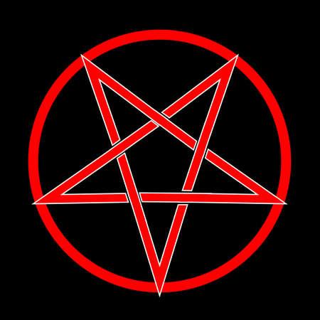 El pentagrama de cinco puntas sobre un fondo negro Foto de archivo - 74445862