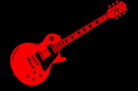 A classic red electric solid body guitar isolated on a black background Illustration
