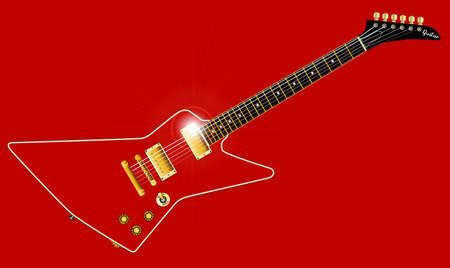 A modern looking electric guitar isolated on a red background