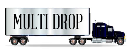 sleeper: The front end of a large lorry over a white background with Multi Drop inscription Illustration