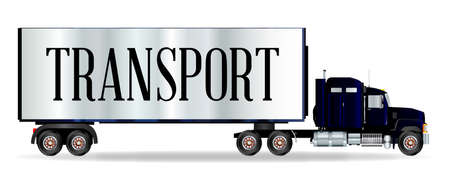 The front end of a large lorry over a white background with transport inscription