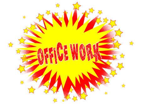 secretarial: A cartoon style office work splash explosive motif over a white background.