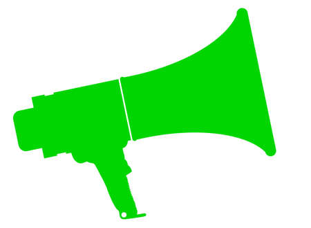 A green megaphone isolated over a white background
