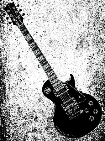A definitive rock and roll guitar in black isolated over a white and grunge background. Vektoros illusztráció