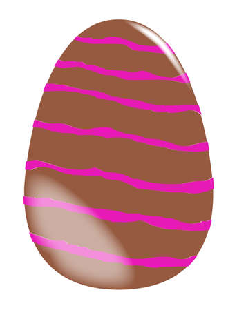 brown egg: A large milk chocolate brown Easter egg with candy stripes Illustration
