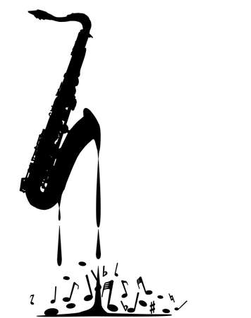 A saxophone melting into musical notes over a white background