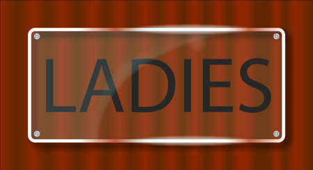 A typical clear plastic door name plate with the text ladies Illustration