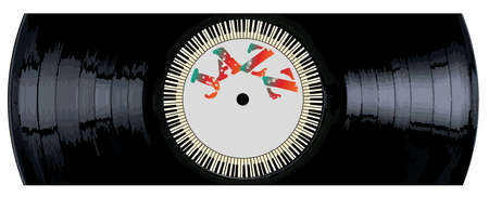 A typical LP vinyl record section with the legend jazz and a circle of piano keys all over a white background.
