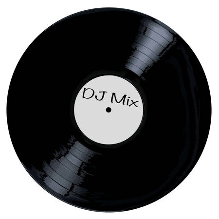 A typical LP vinyl record DJ Mix all over a white background. Illustration