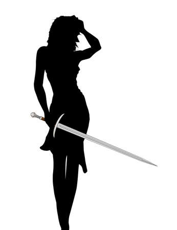 Silhouette of a lady with a large broad sword