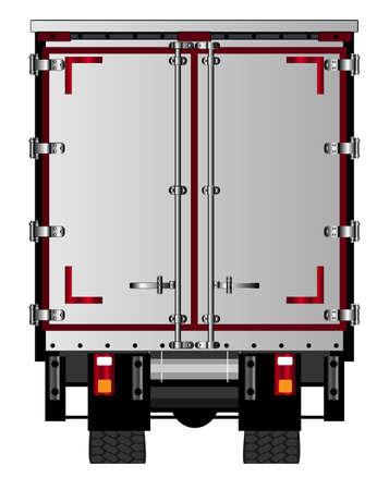 rear end: The rear end of a large lorry over a white background