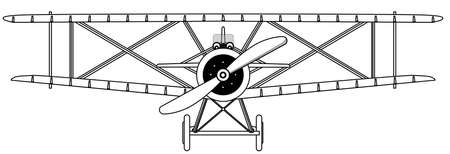 usaf: A WWI RFC fighter plane in isolated outline Illustration