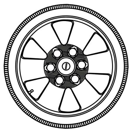 low tire: A low profile tyre on an aluminium wheel in outline over a white background