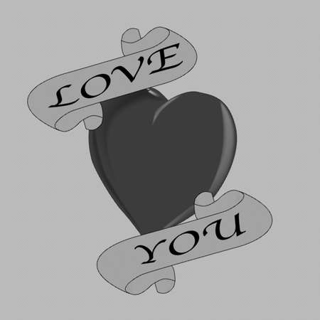 A tattoo style image of a Love You halftone