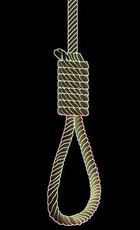 ahorcada: La cuerda de nudo y cáñamo ha sido utilizada por un típico verdugo