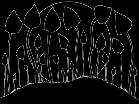 A group of mushrooms outlined against a background with a moon outline