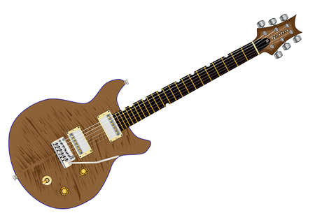 cutaway drawing: A typical double cutaway electric guitar over white