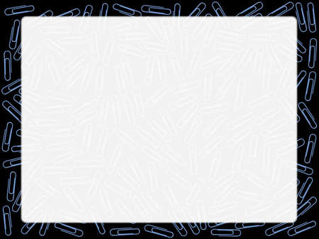 pape: A background made up of paper clips over a black background forming a page border Illustration