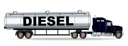 sleeper: The front end of a large diesel fuel oil truck over a white background Illustration