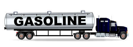 sleeper: The front end of a large gasoline truck over a white background