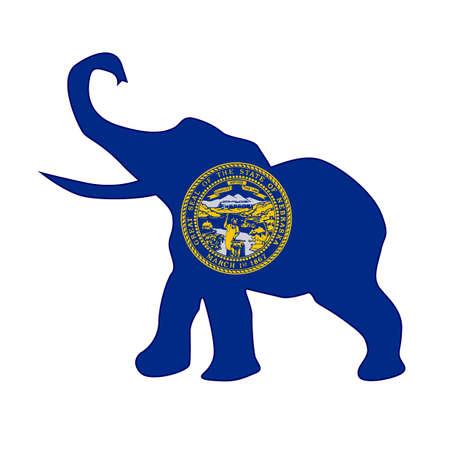 nebraska: The Nebraska Republican elephant flag over a white background