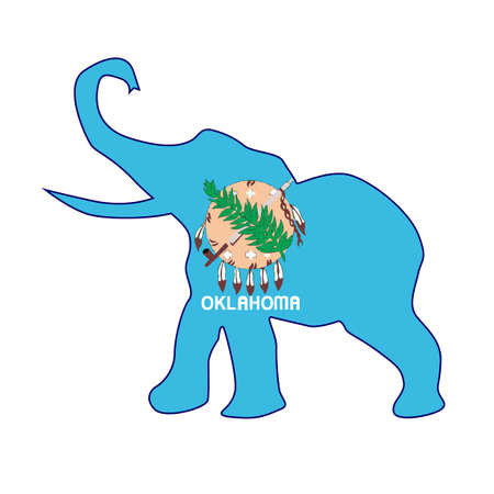 The Oklahoma Republican elephant flag over a white background