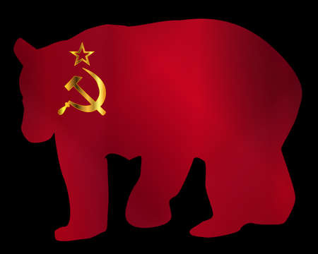 Silhouette of a large Russian on the Rusian flag