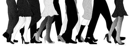 A collection of male and female legs forward in line, isolated over white.