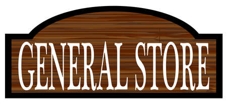 general: General store stylish wooden store sign over a white background