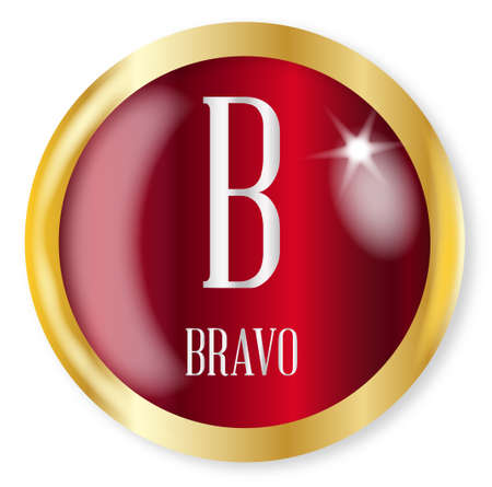 phonetic: B for Bravobutton from the phonetic alphabet with a gold metal circular border over a white background