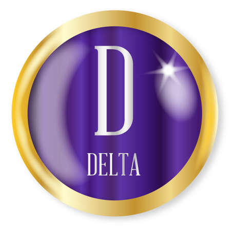 delta: D for Delta button from the phonetic alphabet with a gold metal circular border over a white background Illustration