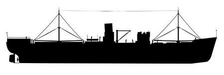 Sisilhiuette van een oude Tramp Steamer over een witte achtergrond Vector Illustratie