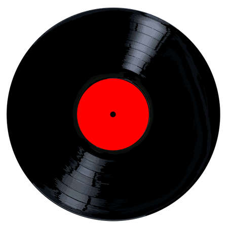 A typical LP vinyl record all over a white background.