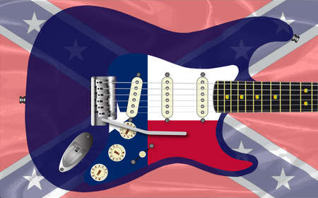 A traditional solid body electric guitar with a Texas flag scratchplate over a rebel flag