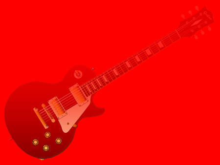 The definitive rock and roll guitar in a red background.