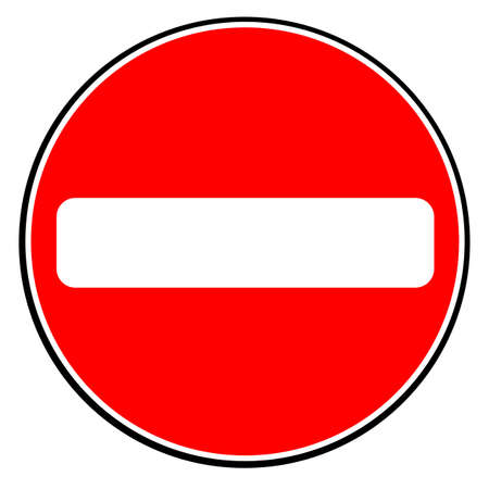 A large round red traffic no entry sign over white.
