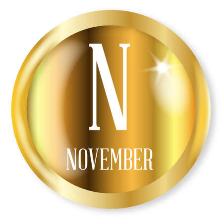 phonetic: N for November button from the NATO phonetic alphabet with a gold metal circular border over a white background