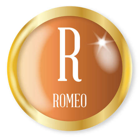 phonetic: R for Romeo button from the NATO phonetic alphabet with a gold metal circular border over a white background