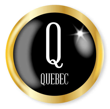 phonetic: Q for Quebec button from the NATO phonetic alphabet with a gold metal circular border over a white background