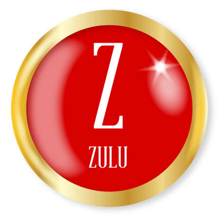 Z for Zulu button from the NATO phonetic alphabet with a gold metal circular border over a white background