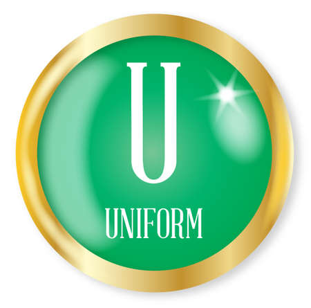 phonetic: U for Uniform button from the NATO phonetic alphabet with a gold metal circular border over a white background Illustration