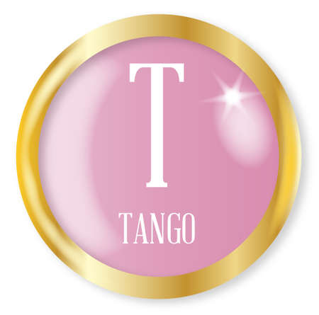 phonetic: T for Tango button from the NATO phonetic alphabet with a gold metal circular border over a white background
