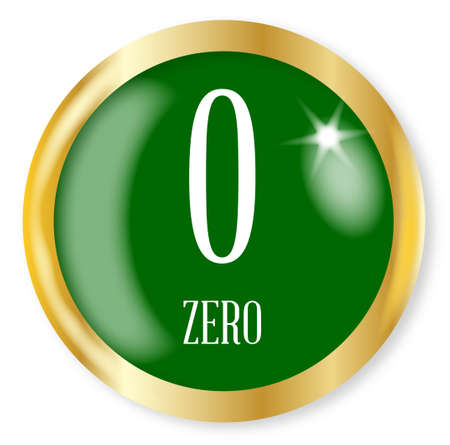 phonetic: 0 for Zero button from the NATO phonetic alphabetnumber with a gold metal circular border over a white background