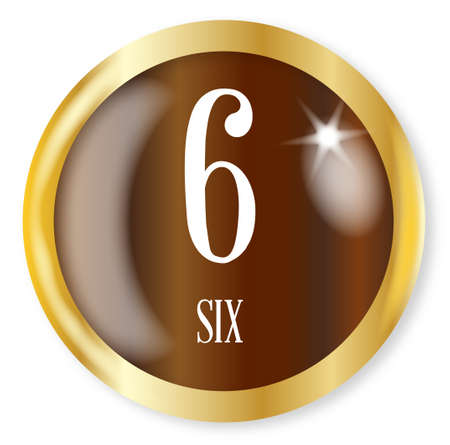 phonetic: 6 for Six button from the NATO phonetic alphabetnumber with a gold metal circular border over a white background