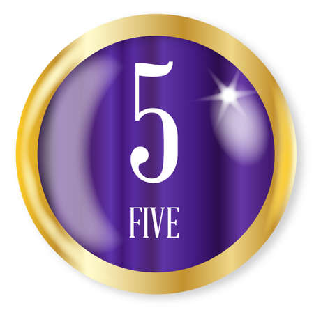 5 fo Five button from the NATO phonetic alphabetnumber with a gold metal circular border over a white background