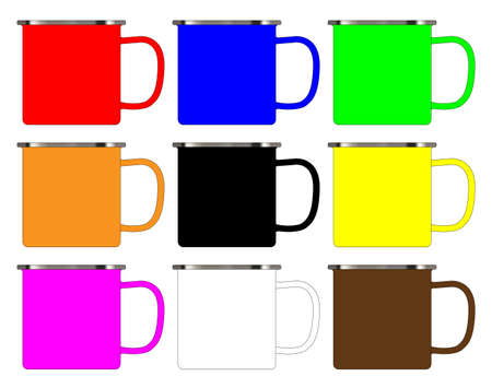 A typical collection of enamel tin cups over a white background Illustration