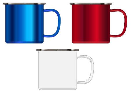 Typical patriotic red white and blue coloured tin cups over a white background